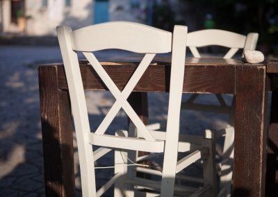 Weißer Stuhl, Afytos, Kassandra, Chalkidiki, Griechenland