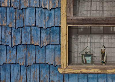 Holzschindel-Fassade, Chiloe, Chile