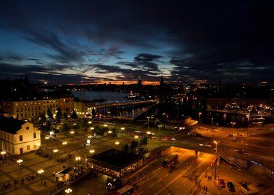 Stadtblick bei Nacht, Stockholm, Schweden