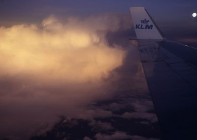 Rückflug mit Blick auf Mond und Wolken, Bonair